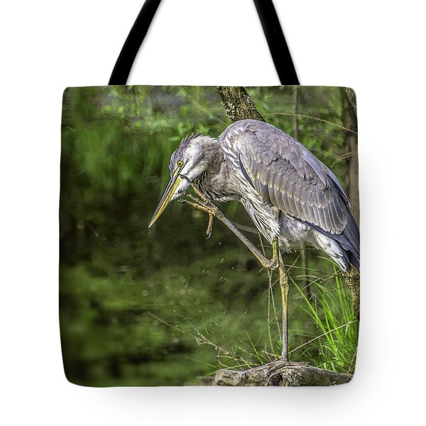 Great Blue Heron Itch Tote Bag
