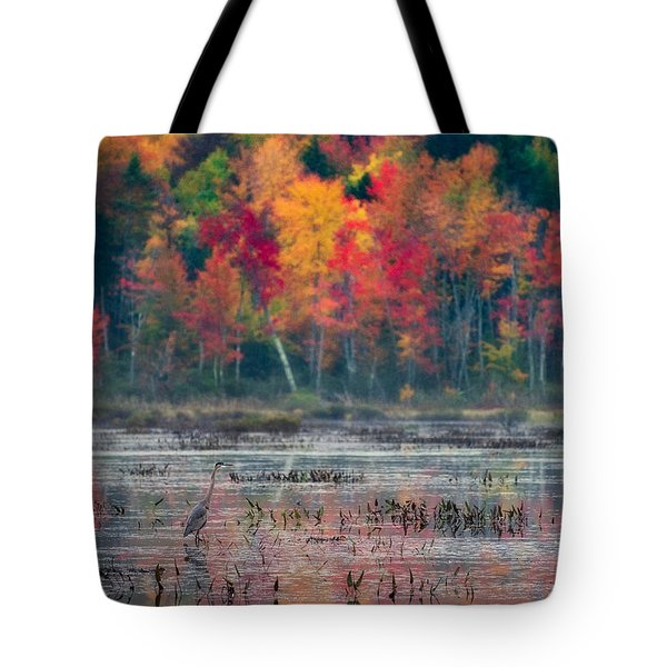 Tote Bag featuring the photograph Great Blue Heron On Loon Lake by Brad Wenskoski
