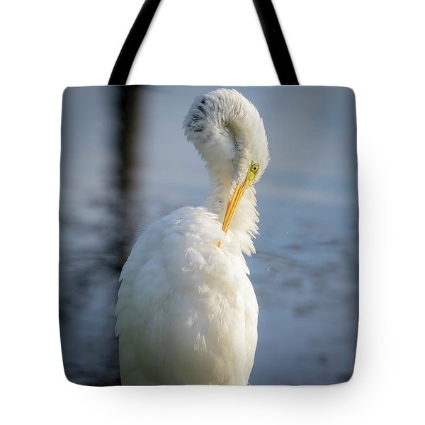 Tote Bag featuring the photograph Great Egret - Preening Time by Ricky L Jones