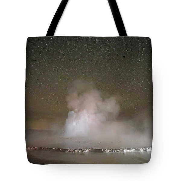 Great Fountain Geyser At Night Tote Bag