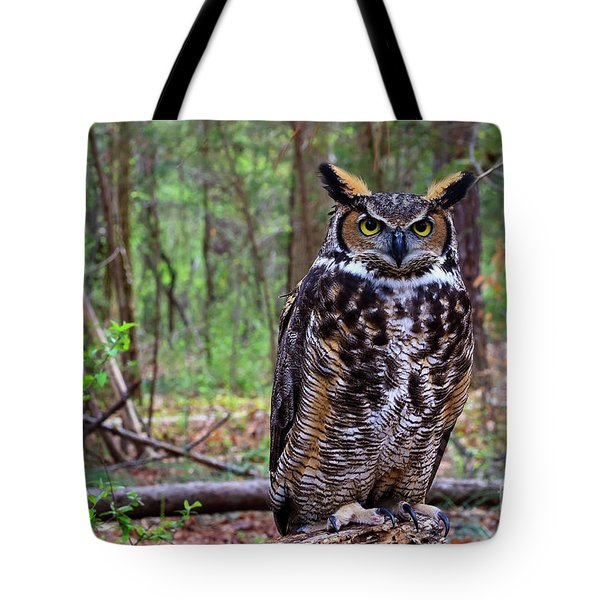 Great Horned Owl Standing On A Tree Log Tote Bag