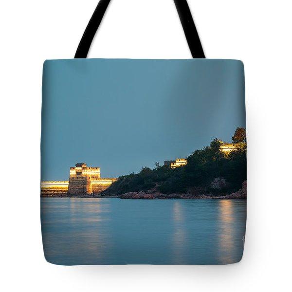 Great Wall At Night Tote Bag