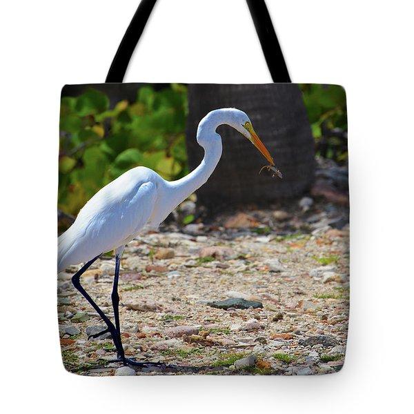 Great White Egret Hunter Tote Bag