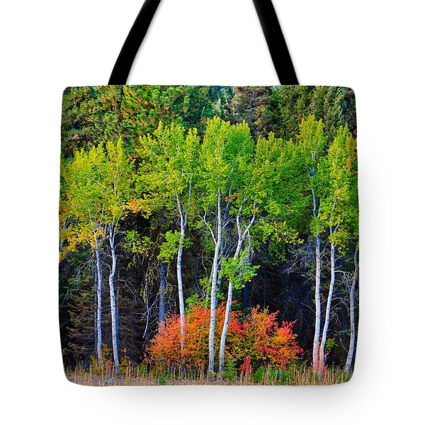 Green Aspens Red Bushes Tote Bag