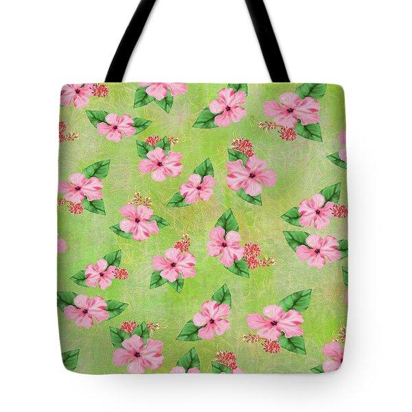 Green Batik Tropical Multi-foral Print Tote Bag