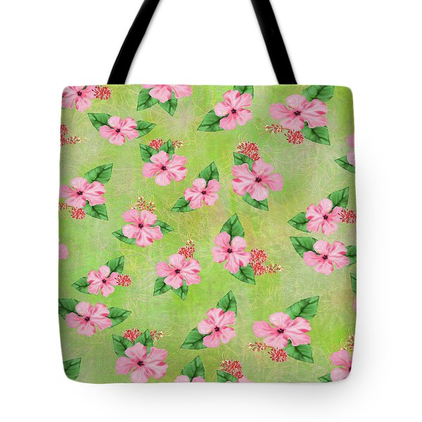 Green Batik Tropical Multi-foral Print Tote Bag