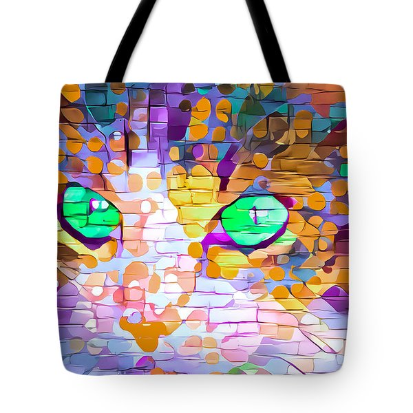Green Eyed Cat Abstract Tote Bag