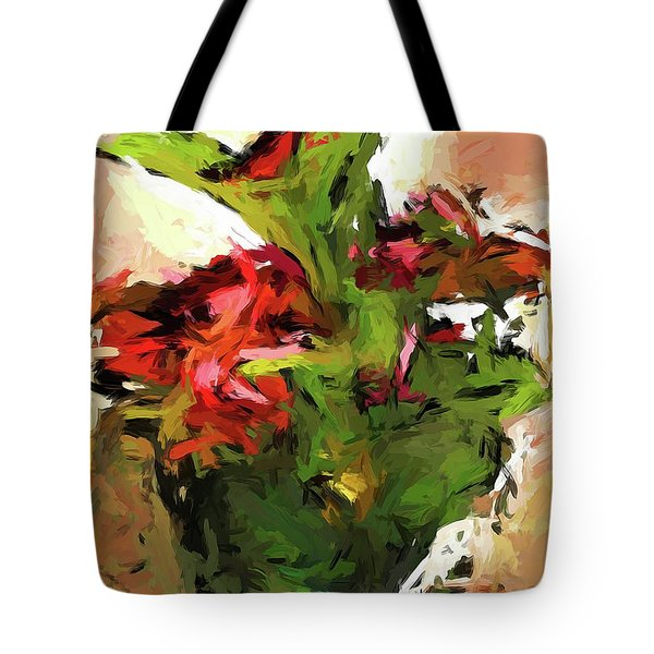 Green Leaves And The Red Flower Tote Bag