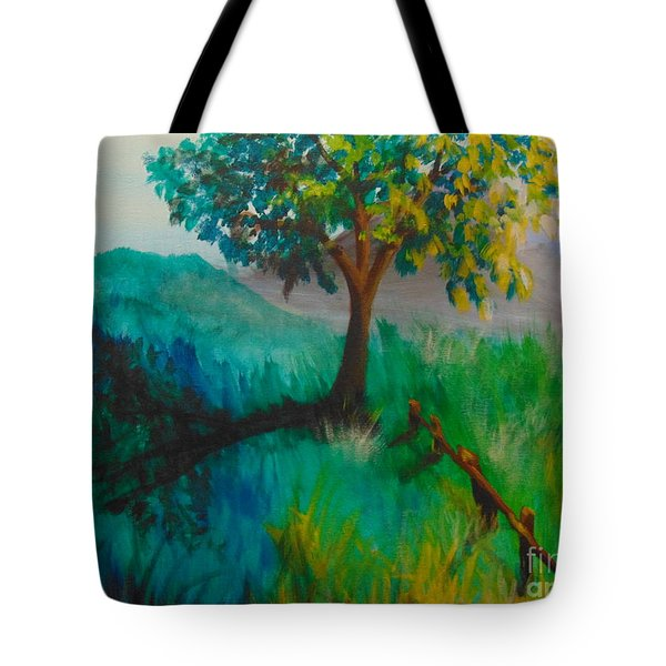 Tote Bag featuring the painting Green Pastures by Saundra Johnson
