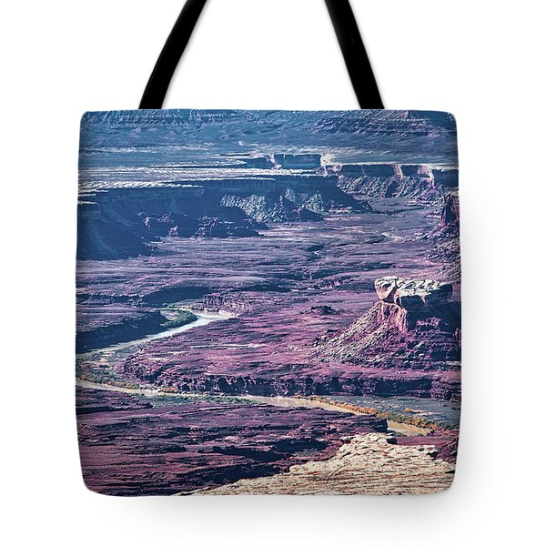 Tote Bag featuring the photograph Green River Moonscape by Andy Crawford