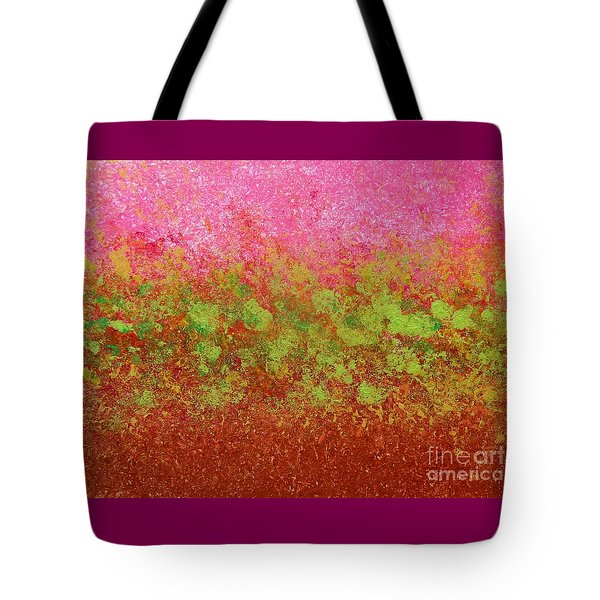 Tote Bag featuring the painting Greenery With Pink - Art By Cori by Corinne Carroll