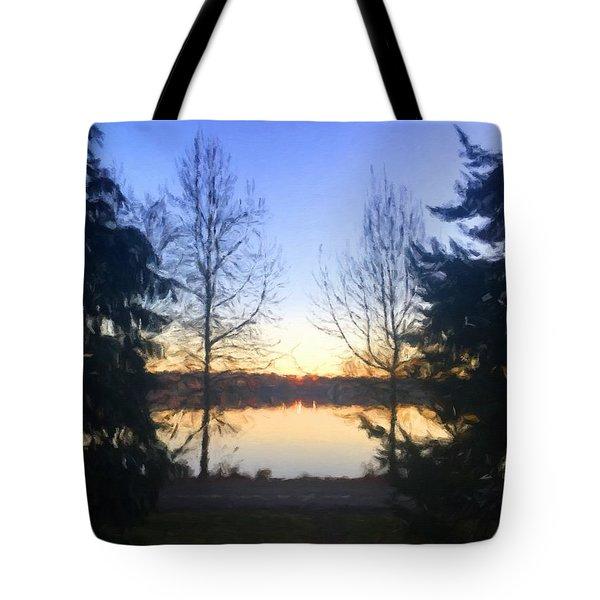 Greenlake Dawn Evergreens Tote Bag