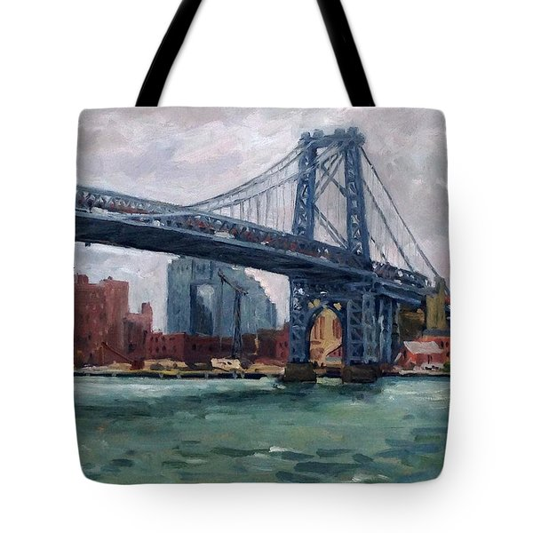 Grey And Blue Williamsburg Bridge Nyc Tote Bag