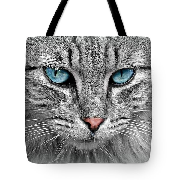 Grey Cat With Blue Eyes Tote Bag