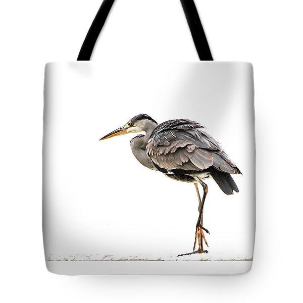 Grey Heron On Snow Tote Bag