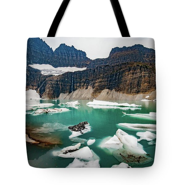 Tote Bag featuring the photograph Grinnell Glacial Lake At Glacier National Park by Lon Dittrick