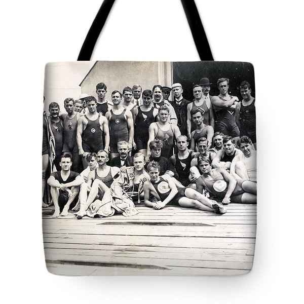 Group Of Competitors In The Swimming Events At The 1904 Olympics Tote Bag