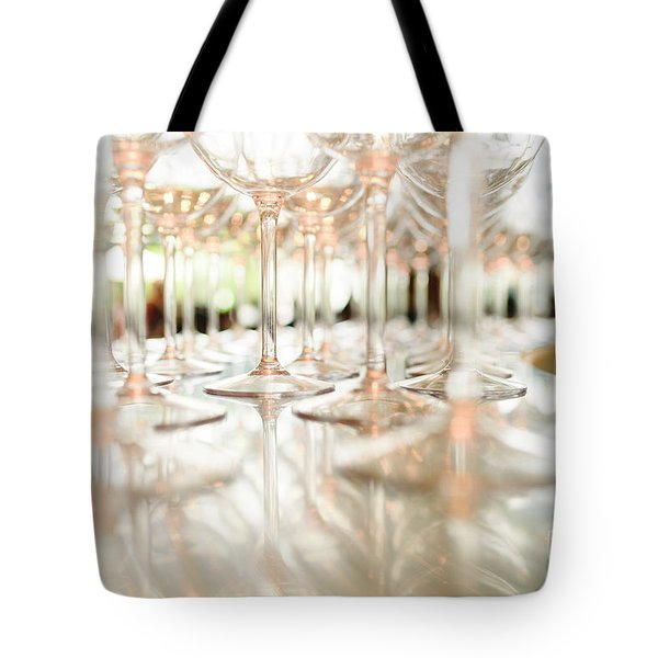 Group Of Empty Transparent Glasses Ready For A Party In A Bar. Tote Bag