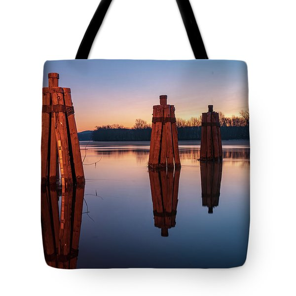 Group Of Three Docking Piles On Connecticut River Tote Bag