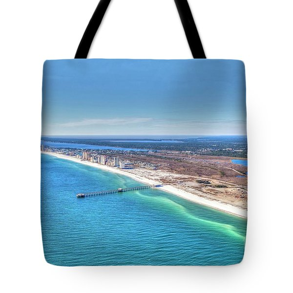 Tote Bag featuring the photograph Gsp Pier And Beach by Gulf Coast Aerials