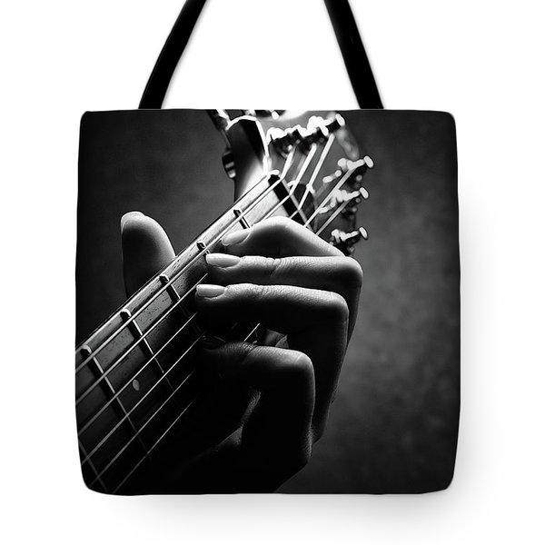 Guitarist Hand Close-up Tote Bag