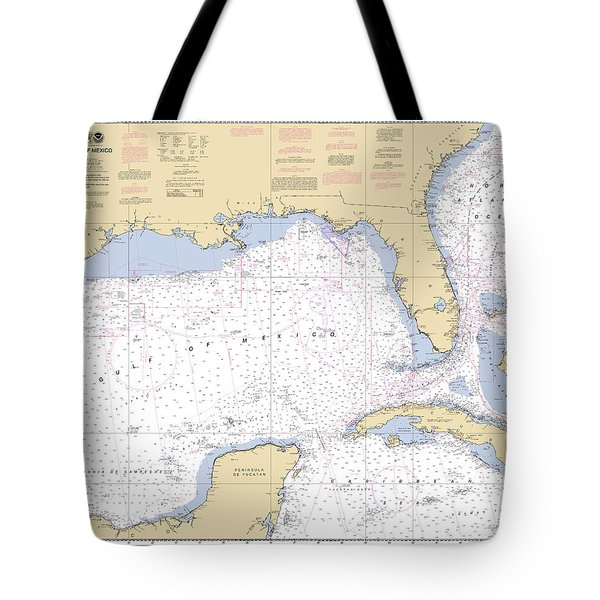 Gulf Of Mexico, Noaa Chart 411 Tote Bag