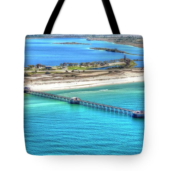 Tote Bag featuring the photograph Gulf State Park Pier 7464p3 by Gulf Coast Aerials -
