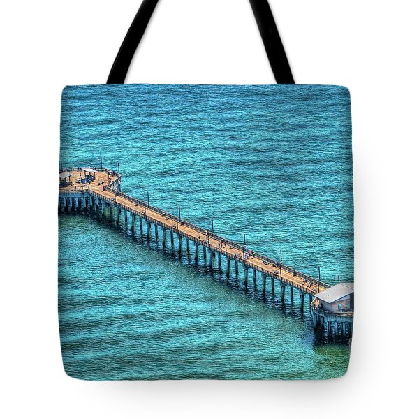 Tote Bag featuring the photograph Gulf State Park Pier by Gulf Coast Aerials -