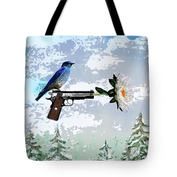 Bluebird Of Happiness- Flower In A Gun Tote Bag