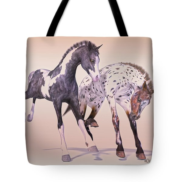 Gypsy Vanner And Leopard Appaloosa Best Friends Tote Bag