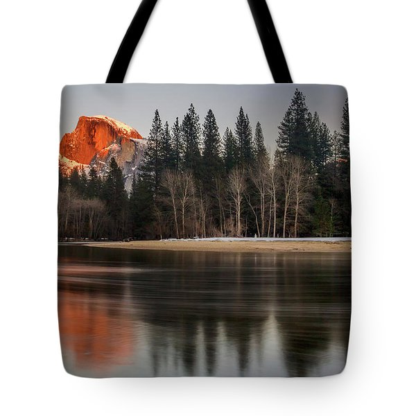 Half Dome Sunset In Winter Tote Bag