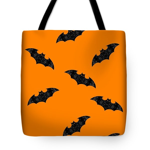 Tote Bag featuring the mixed media Halloween Bats In Flight by Rachel Hannah