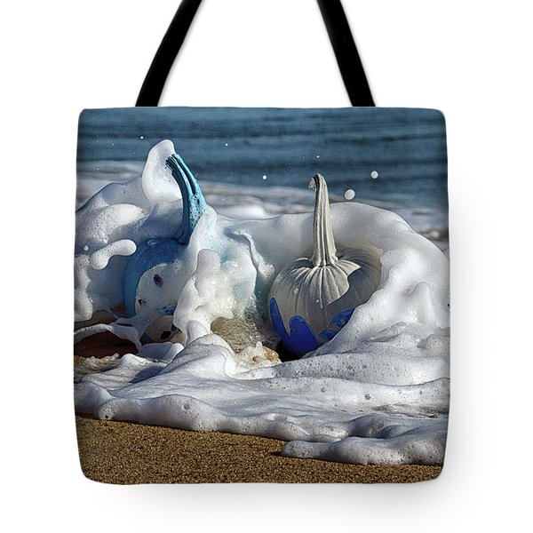 Halloween Blue And White Pumpkins In The Surf Tote Bag