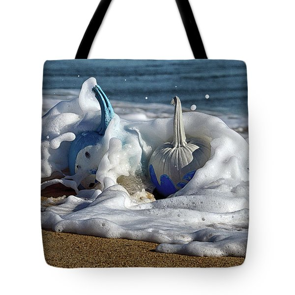 Tote Bag featuring the photograph Halloween Blue And White Pumpkins In The Surf by Bill Swartwout Fine Art Photography