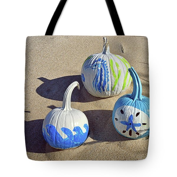 Tote Bag featuring the photograph Halloween Blue And White Pumpkins On A Dune by Bill Swartwout Fine Art Photography