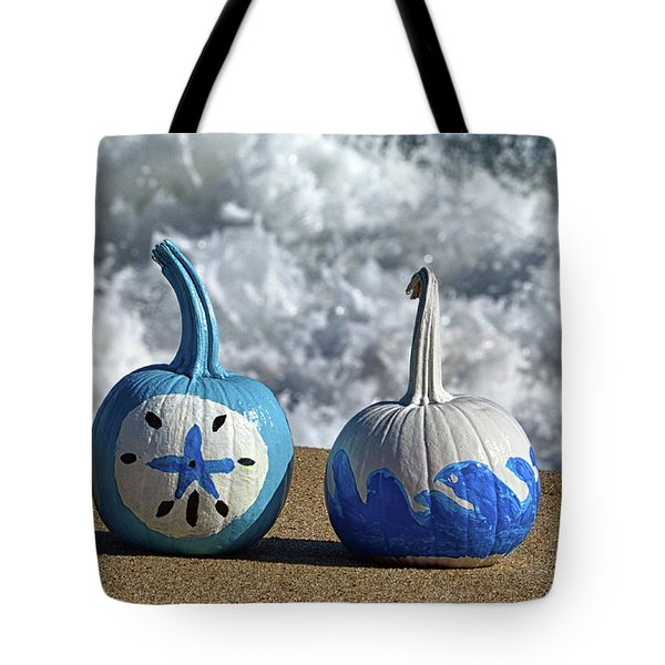 Tote Bag featuring the photograph Halloween Blue And White Pumpkins On The Beach by Bill Swartwout Fine Art Photography