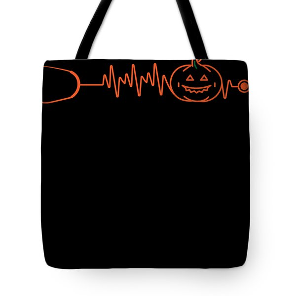 fe60a937f66 Halloween Gift For Nurses And Doctors Pumpkin Stethoscope Heartbeat Tote Bag