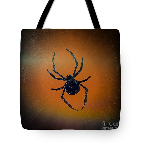 Tote Bag featuring the mixed media Halloween Spider  by Rachel Hannah