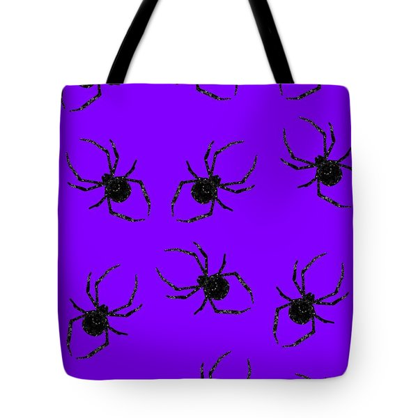 Tote Bag featuring the mixed media Halloween Spiders Creeping by Rachel Hannah