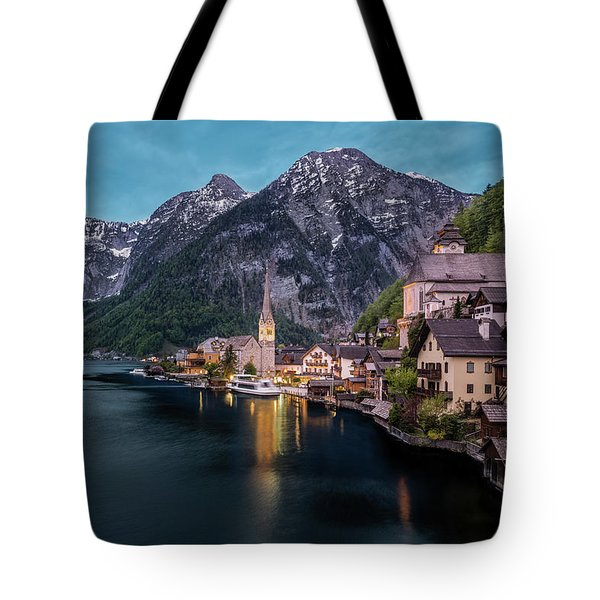Tote Bag featuring the photograph Hallstatt Village At Dusk, Austria by Milan Ljubisavljevic