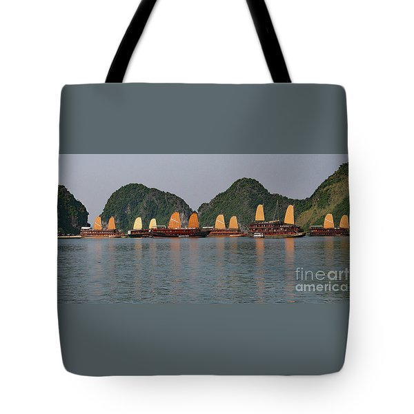 Tote Bag featuring the photograph Halong Bay--waiting For Sunrise by PJ Boylan