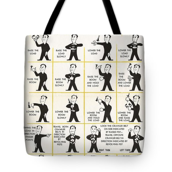 Hand Signals For Shovel Crane Operations Safety Poster Alberta Workmen S Compensation Board Poster   Tote Bag
