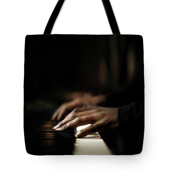 Hands Playing Piano Close-up Tote Bag