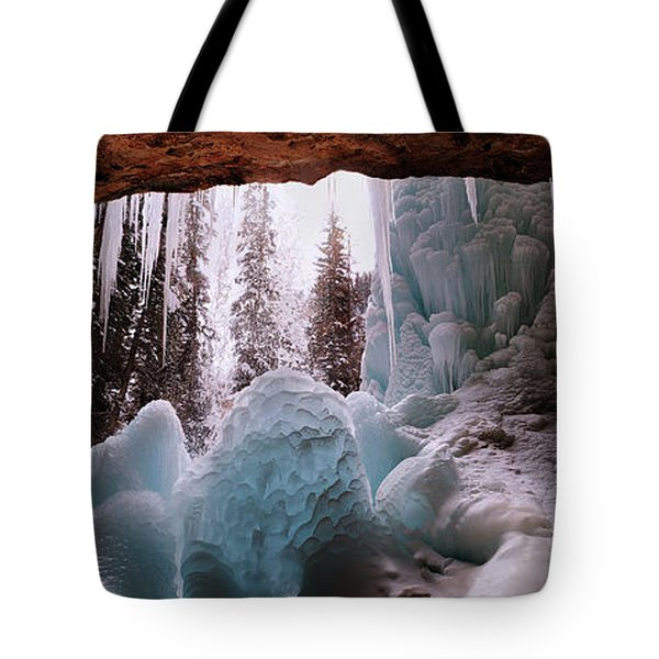 Tote Bag featuring the digital art Hanging Lake Spouting Rock At Glenwood Canyon Glenwood Spring by OLena Art Brand