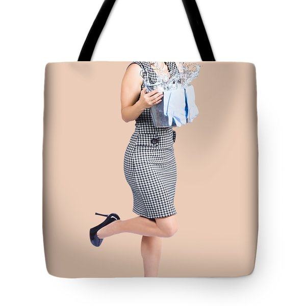 Happy Cleaning Woman Kicking Up Dirt And Grime Tote Bag