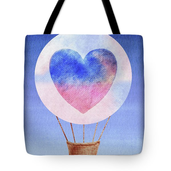 Happy Heart Hot Air Balloon Watercolor I Tote Bag