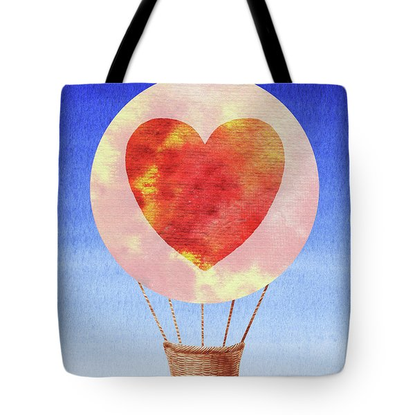 Happy Heart Hot Air Balloon Watercolor II Tote Bag