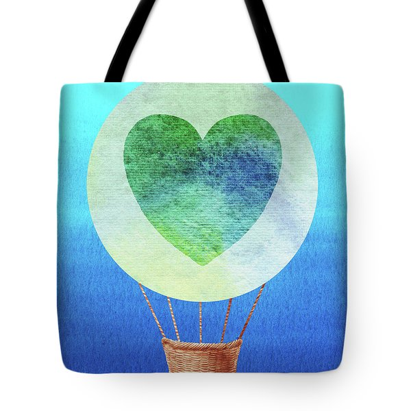 Happy Heart Hot Air Balloon Watercolor IIi Tote Bag