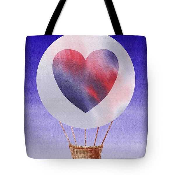 Happy Heart Hot Air Balloon Watercolor Iv Tote Bag