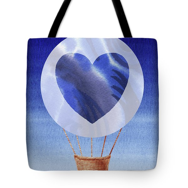 Happy Heart Hot Air Balloon Watercolor V Tote Bag